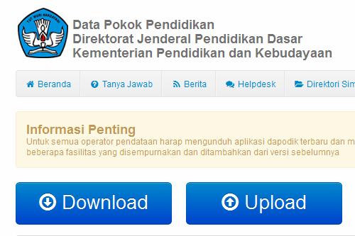 Semua operator sekolah diminta mendownload aplikasi dapodik terbaru.