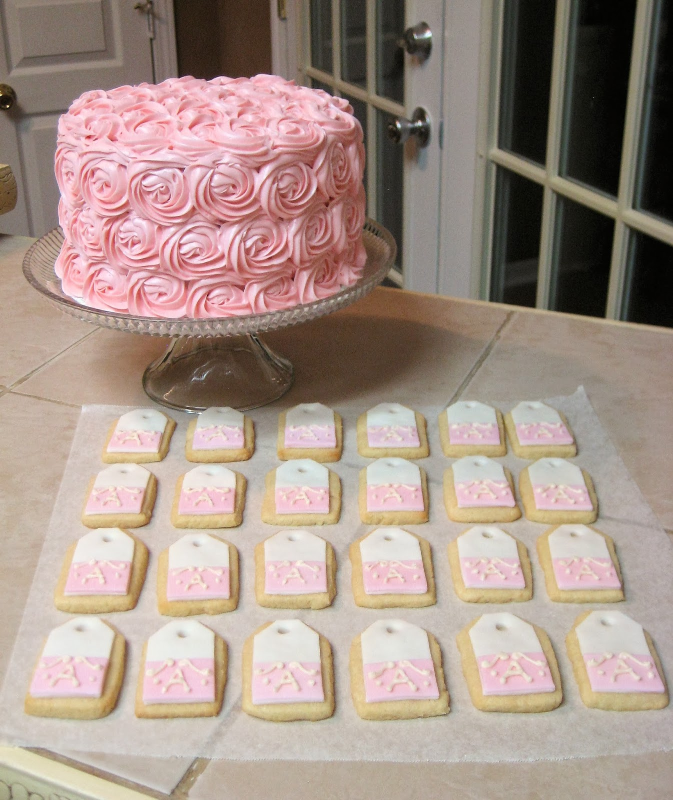 Shabby Chic Pink Rose Cake and Teabag Cookies Together 2