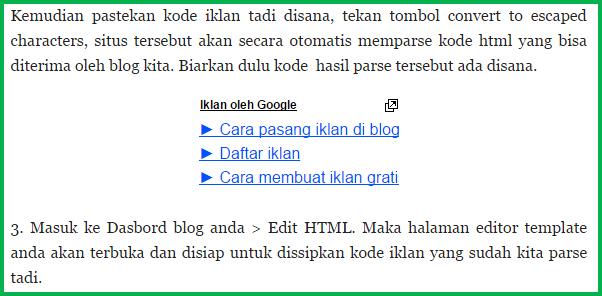 Cara Mudah Pasang Iklan di Tengah Posting Blog