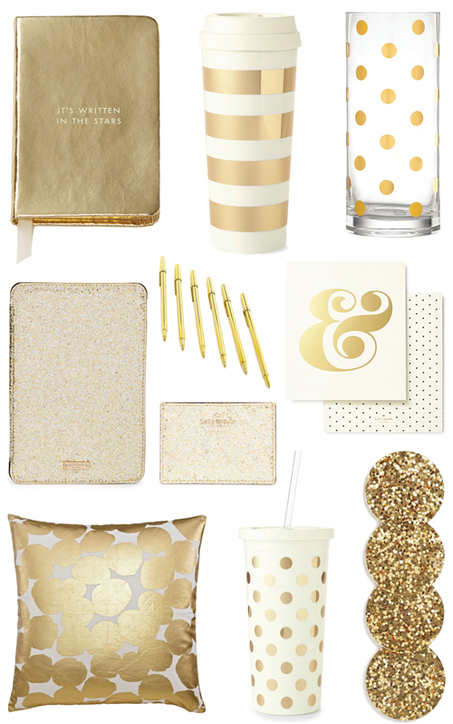 Good ITEMS AS SEEN ABOVE: Gold Notebook || Striped Thermal Mug || Polka Dot Vase  || Gold IPad Case || Gold Pens || Card Holder || Ampersand Print || Pillow  ...