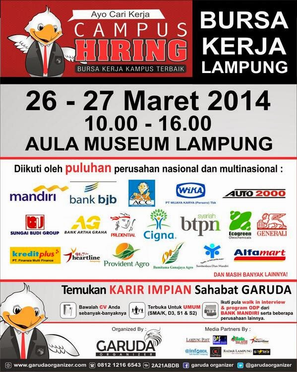 Campus Hiring, Bursa Kerja Lampung Terbaik Maret 2014
