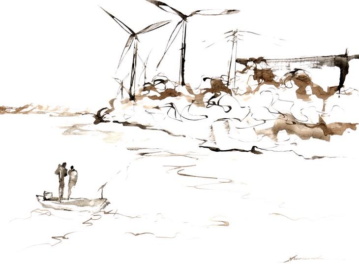 Sur le Rhône - Les Éoliennes - Entre Beaucaire et Tarascon