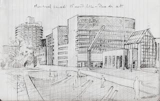sketch of place des arts, Montreal - dessin de la place des arts, montréal