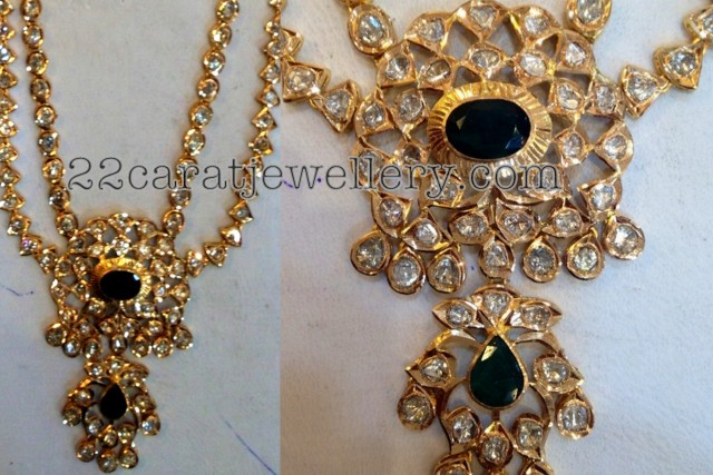 Kundan polki emerald necklace jewellery designs multi kundan strings necklace attached with double step pendant and the set studded with high quality round and oval shaped polki or uncut aloadofball Images