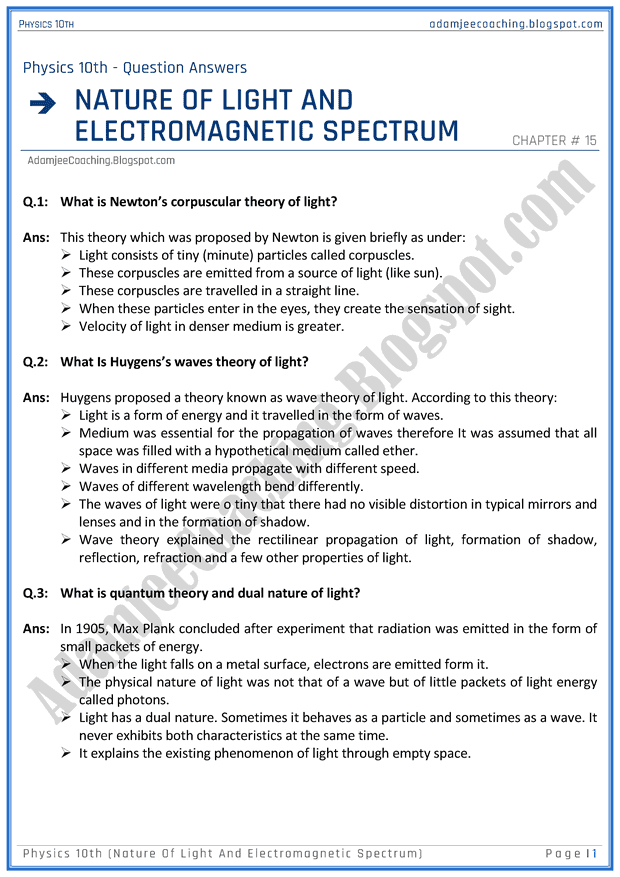 nature-of-light-and-electromagnetic-spectrum-question-answers-physics-10th