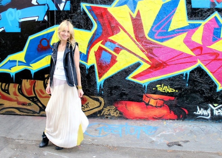 pleated maxi skirt and moto vest