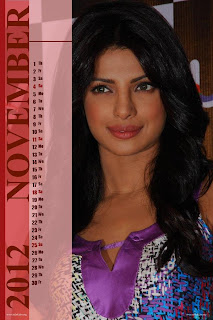Priyanka Chopra Desktop Calendar 2012