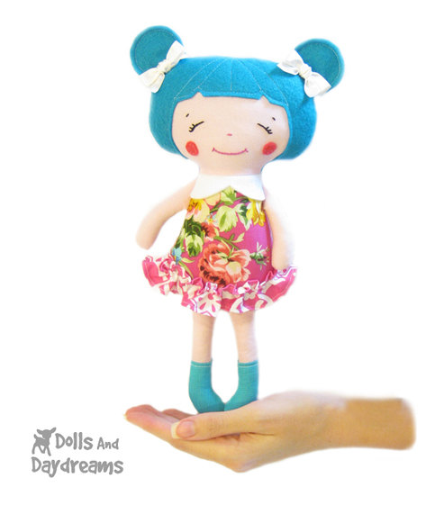 Dolly Donations Pocket Sized Rag Doll Sewing Pattern Finished In