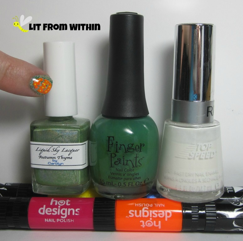 Bottle shot:  Liquid Sky Lacquer Autumn Thyme, Finger Paints Go Van Gogh!, Revlon Spirit, and the hot designs nail art pens