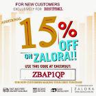 ZALORA - 15% DISCOUNT CODE- ZBAP1QP