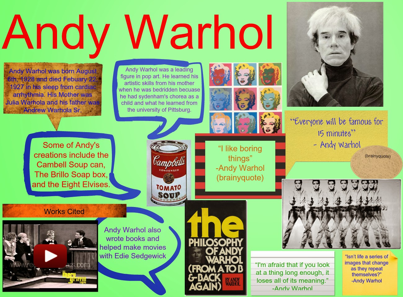 andy warhol a short biography Andy warhol was the superstar of the pop art movement his campbell's soup  cans and gold marilyn monroe made him famous worldwide, and his studio,.