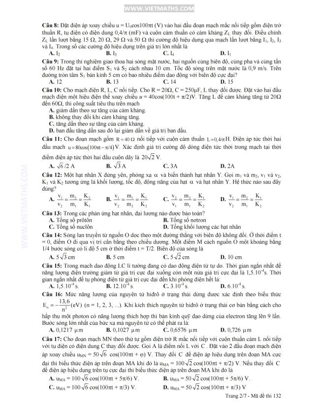 đáp án đề thi môn lý khối a năm 2013, dap an de thi mon ly khoi a nam 2013