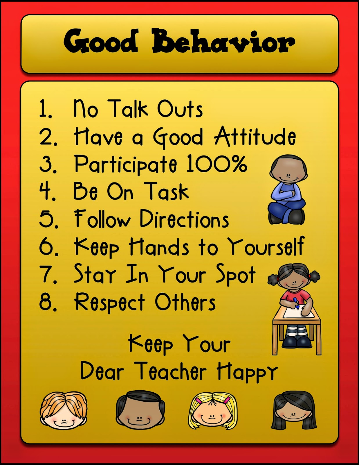 appropriate classroom behavior List of good and bad behaviors to be aware of  distracting classroom  if i didn't have basic guidelines for appropriate behavior in my head to use as.