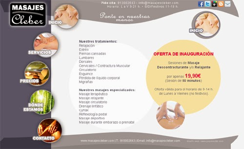 web Masajes Cleber en Madrid (masaje terapéutico, masaje relajante, masaje circulatorio, drenaje linfático, cyriax, reflexología podal, masaje deportivo, masaje durante embarazo, masaje preventivo...)