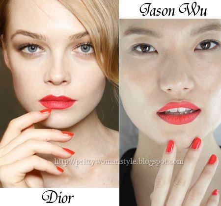 Червен маникюр с къси нокти на Christian Dior и Jason Wu
