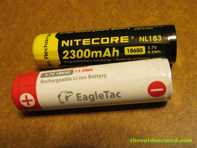 EagleTac 3100 mAh 18650 li-ion battery with a Nitecore 2300 mAh 18650 li-ion battery