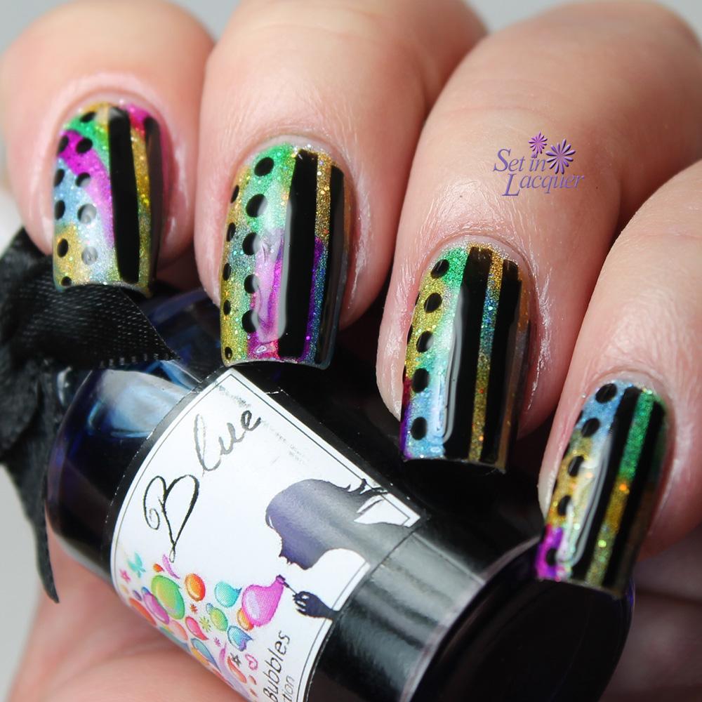 Tinted nail art using Esmaltes Da Kelly Soap Bubbles Collection