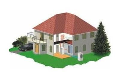 Renderizado de una residencia con equipo de climatización