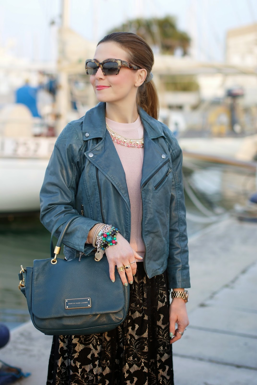 Black lace skirt, peacock leather jacket, Miu Miu razor sunglasses, Fashion and Cookies, fashion blogger