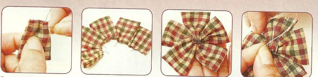 Con silicón caliente pegar a la moño de tela un botón en el centro.Para terminar ,pega tu moño de tela al ganchito de pelo.