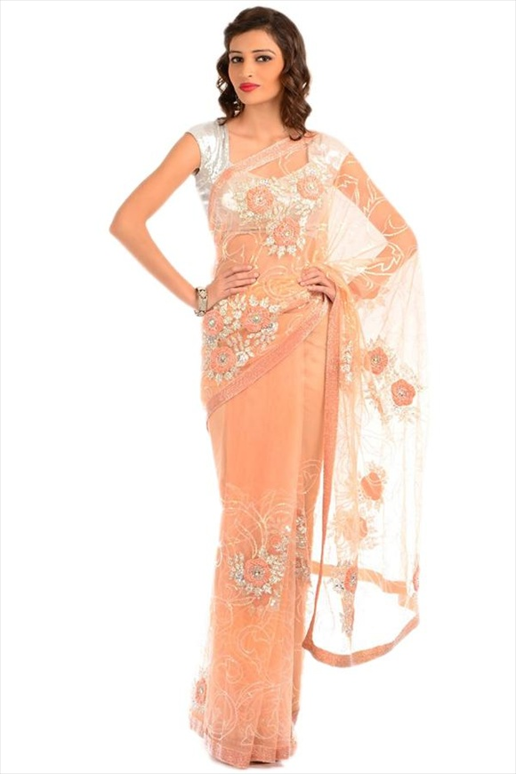 Peach Net Saree