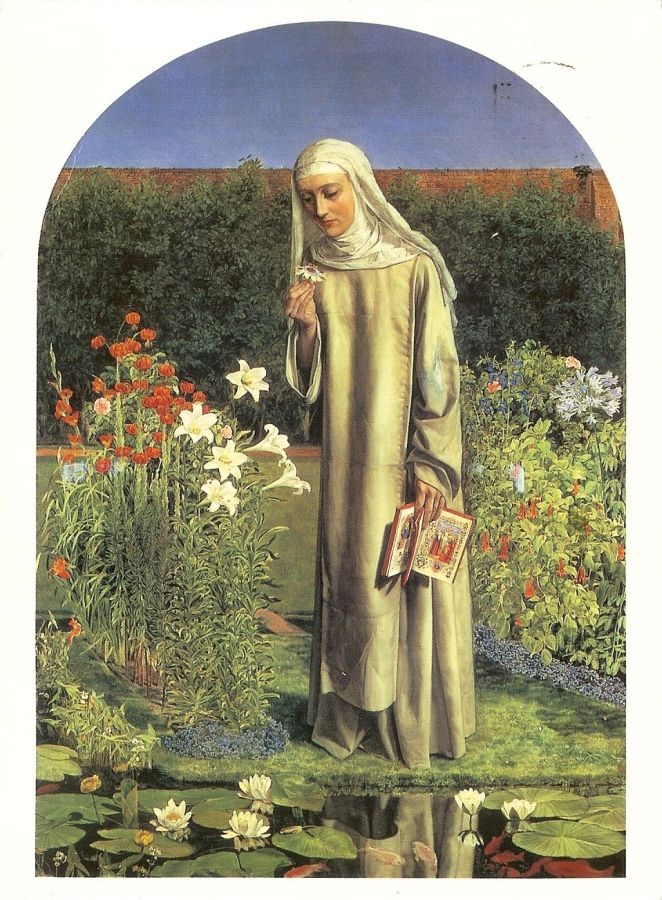oil painting of a novice nun in an enclosed garden