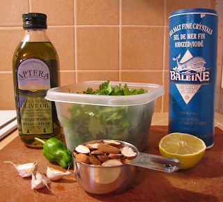 Olive Oil, Garlic, Cilantro, Sea Salt, Sliced Almonds, Jalapeno