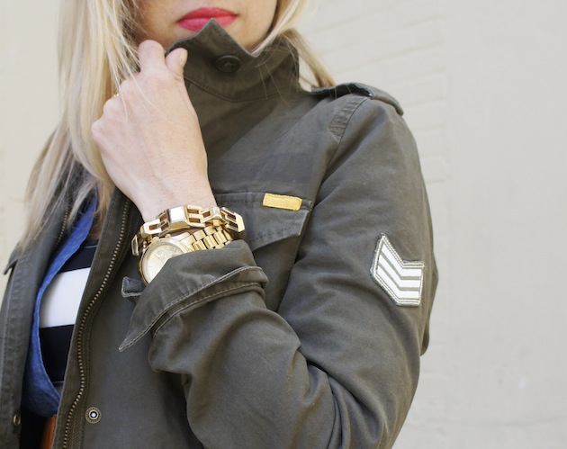 army jacket, stella dot luxor link, fall layering, layering a chambray shirt