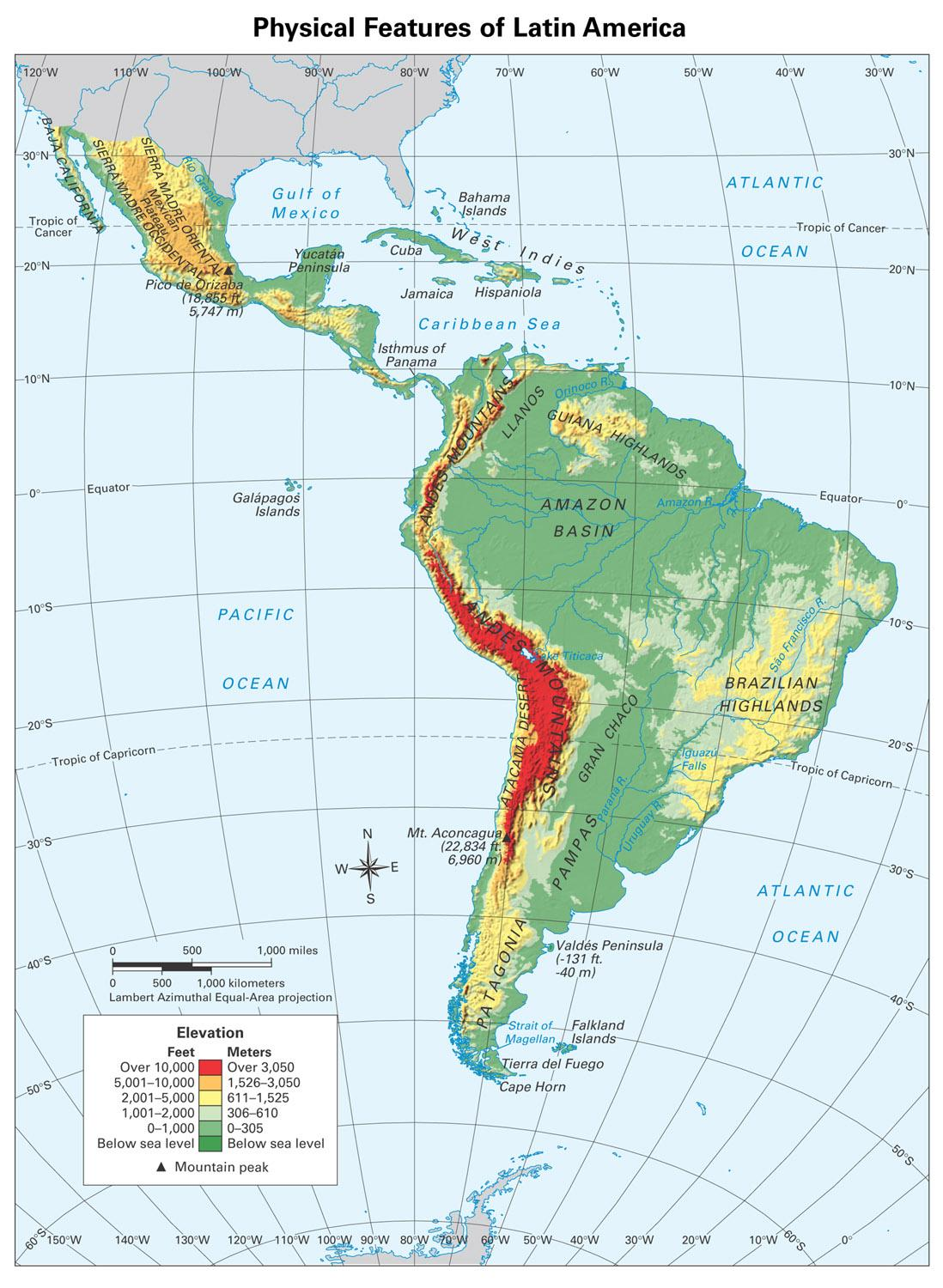 Online Maps Physical Map Of Latin America