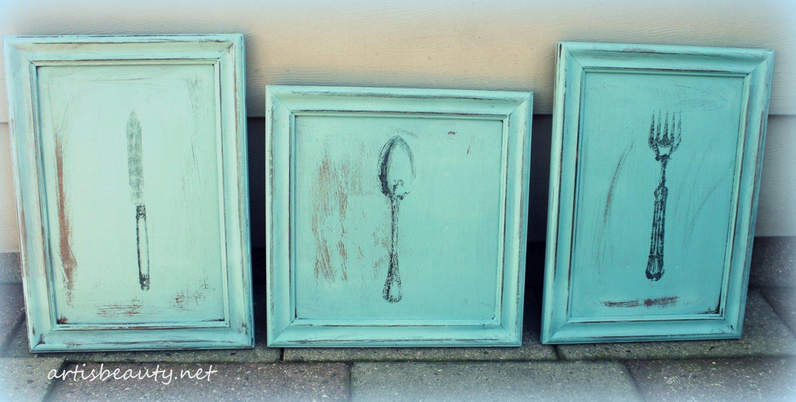 Art is beauty vintage kitchen wall art roadside rescue cupboard doors chalk paint and freezer - Retro kitchen cupboard doors ...