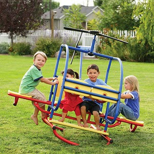 Four kids on a teeter totter