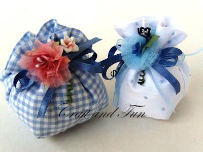 riciclo-creativo della stoffa per realizzare sacchetti per i confetti