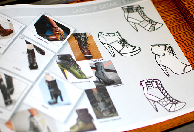 drawn techinical sketches of shoes and heels