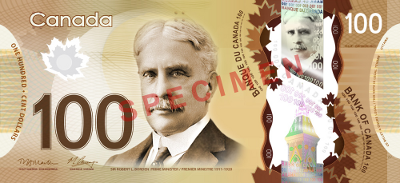 Canadian $100 bill - polymer - 2011.  Collect and win!