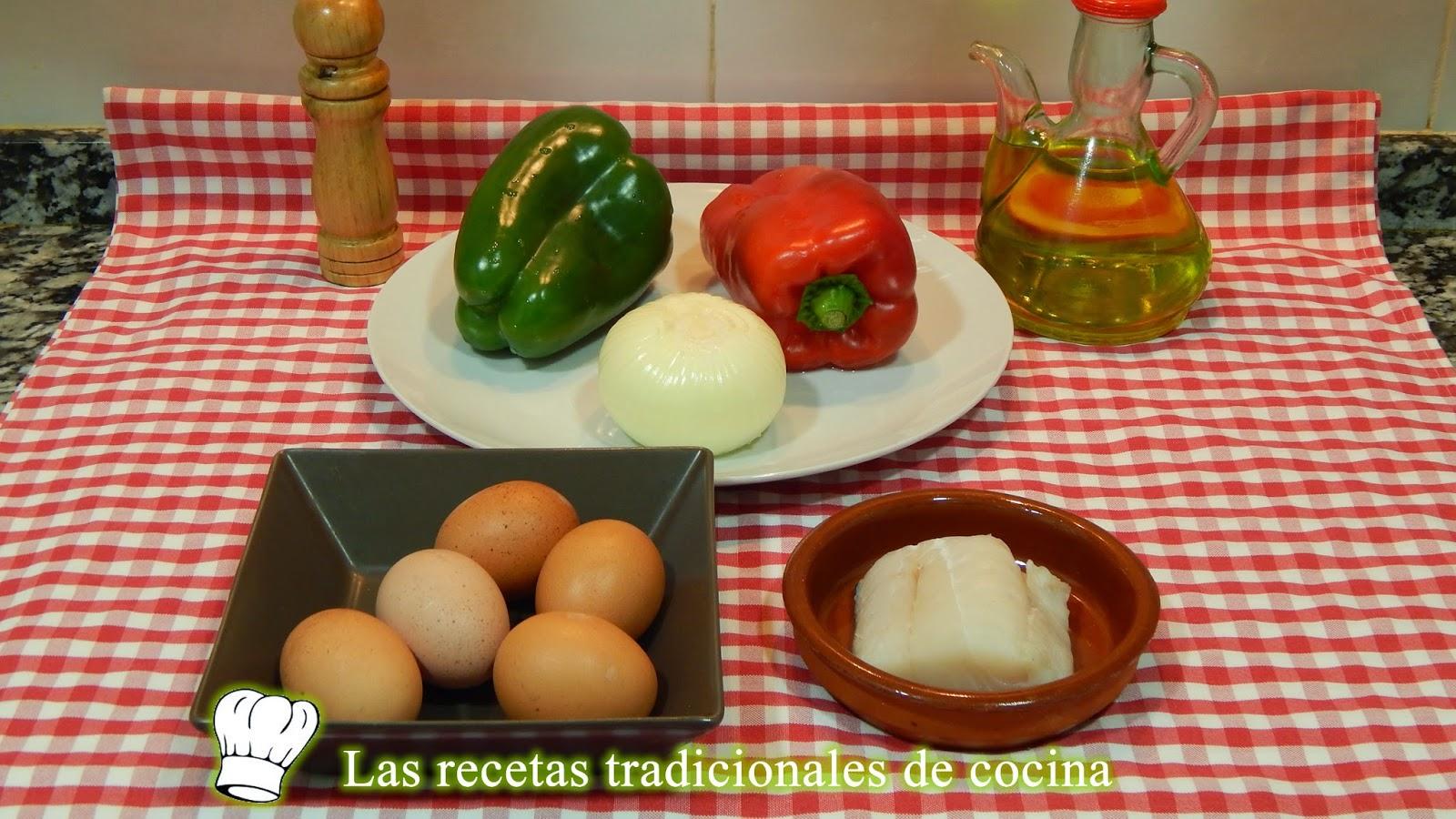 Receta de tortilla de bacalao y pimientos