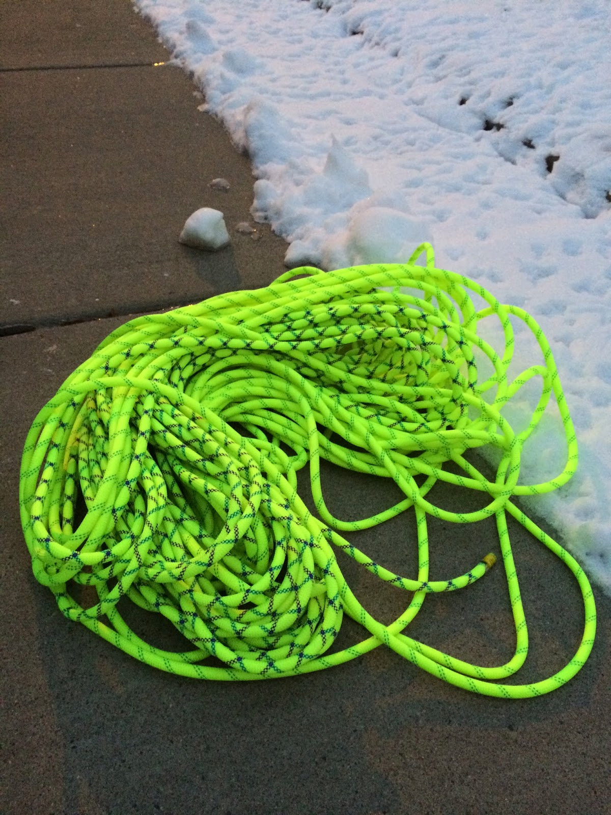 Sterling Evolution Velocity BiColor 9.8mm 70m Rope in a pile on the ground