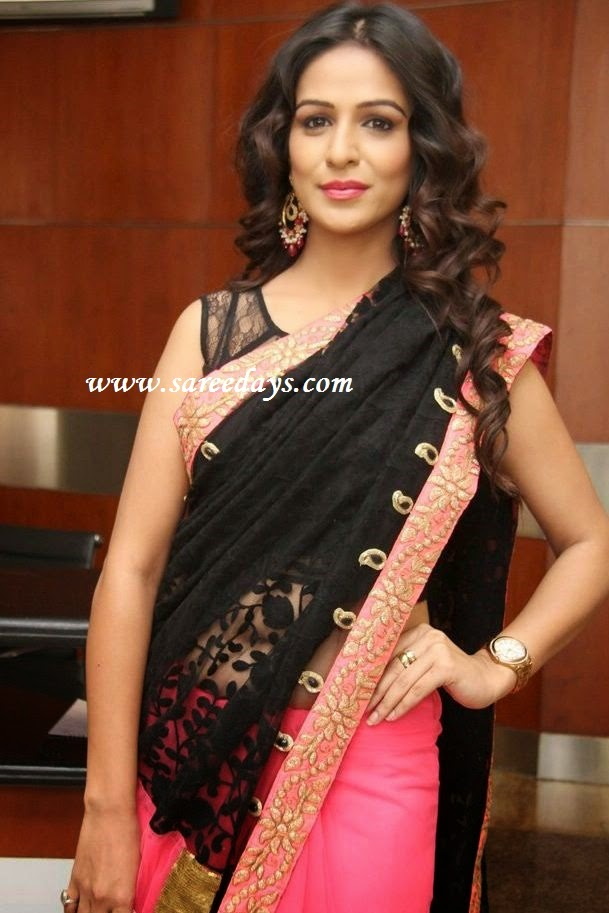 Latest saree designs black and pink half and half saree black and pink half and half saree altavistaventures Images