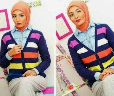 Sweater rajut model klasik atasan muslim wanita