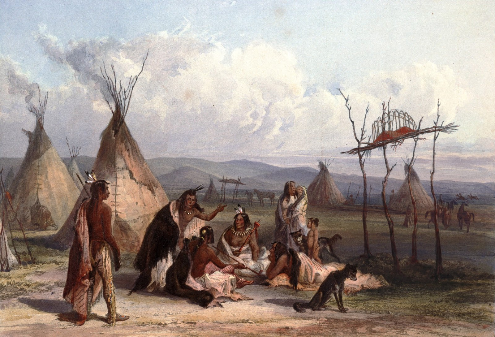 Sioux dead are usually wrapped up in buffalo skins or blankets and