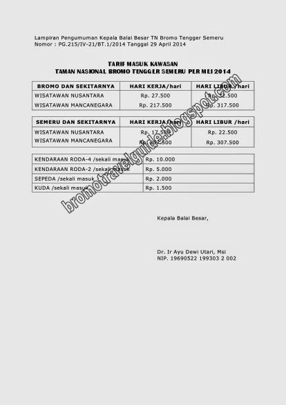 Harga Tiket Masuk Wisata Bromo Terbaru (updated) - bromotravelguide