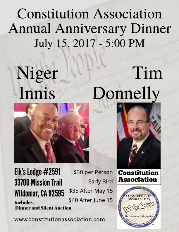 Attend the Constitution Association's 2nd Annual Anniversary Dinner on July 15.