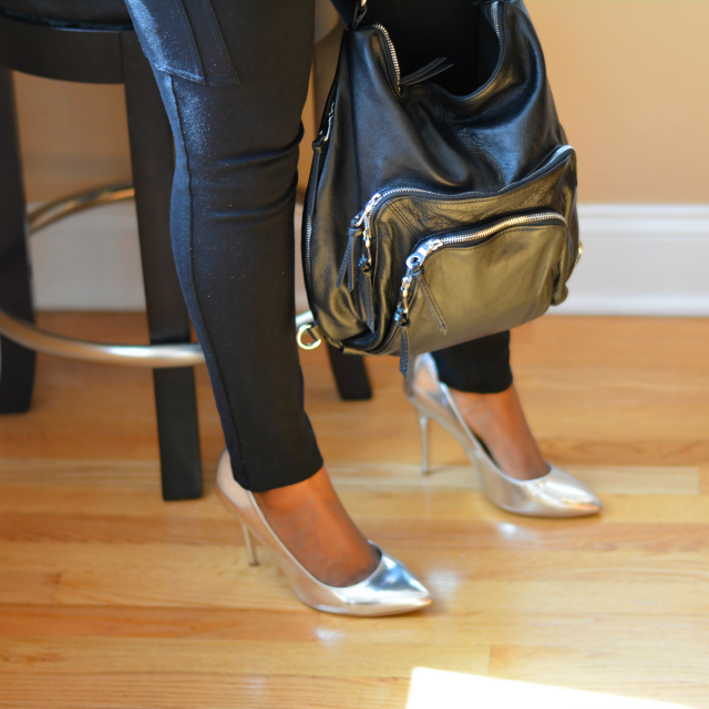 silver pumps with christopher kon bag