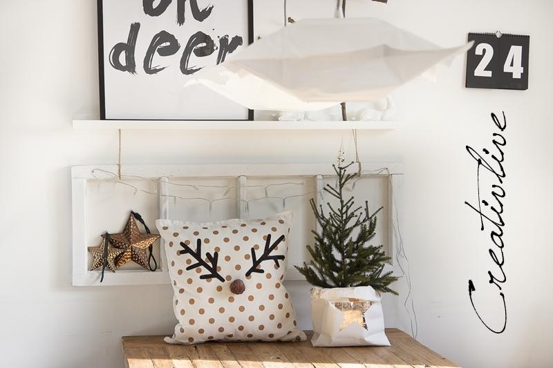 diy rentier-kissen und 1. weihnachtsdeko | creativlive, Innenarchitektur ideen