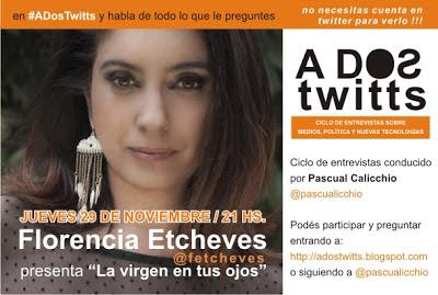 Twitcam con Florencia Etcheves este jueves