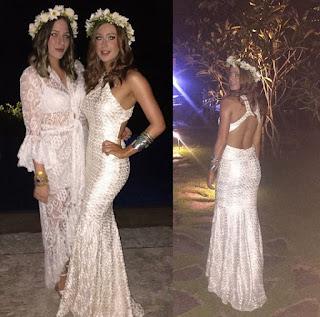 vestido longo branco com brilho para o ano novo