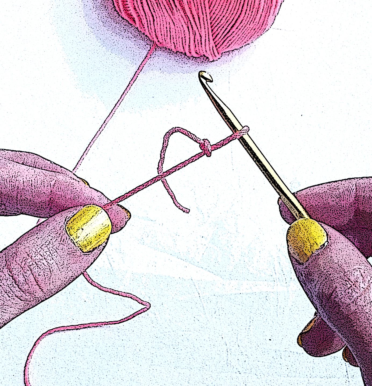 Uncinetto e smalto giallo