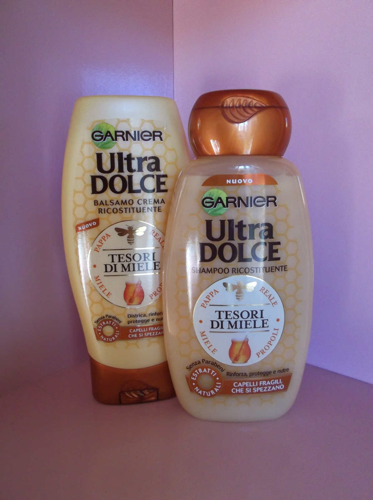 shampoo e balsamo ricostituente ultra dolce tesori di miele garnier