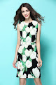 New 2017 Sleeveless White Tulips Print OL Dress