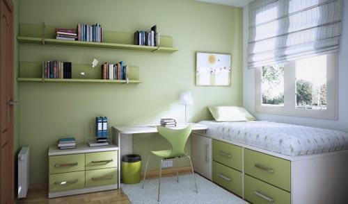 Decoração de Dormitórios pequenos para jovens Busca  ~ Quarto Solteiro Verde