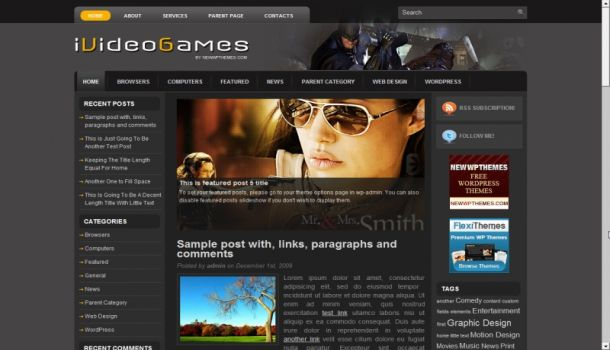 Movies Gray Magazine Wordpress Theme ~ Free CMS